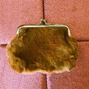 """4"""" Faux Fur Snap Closure Soft Coin Purse - Tan"""